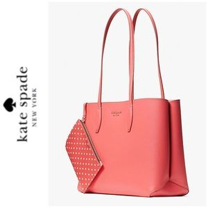 NWT Kate Spade leather tote and wristlet peach